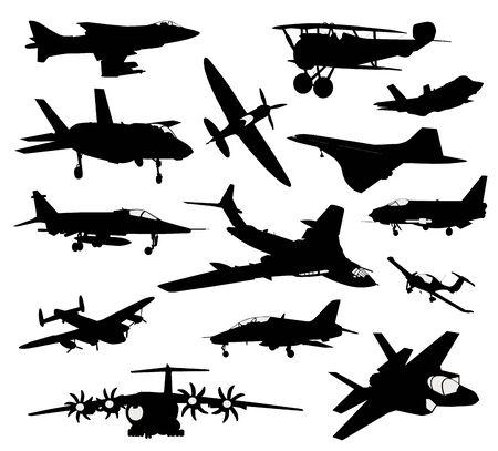 Vector aircrafts set Ilustración de vector