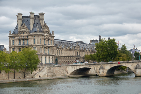 Architecture of Paris. The Tuileries Palace along the Seine River.