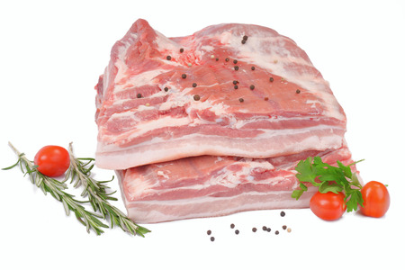 raw pork belly with rind Stock Photo