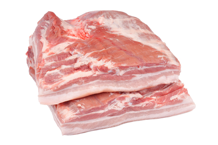 raw pork belly with rind on the white background Banco de Imagens