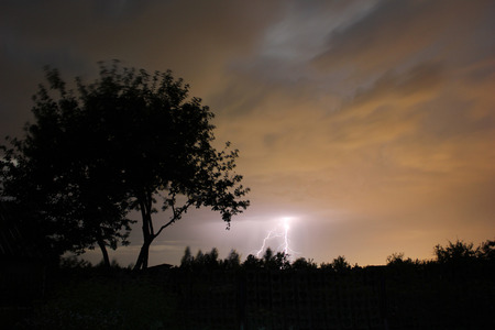 strong wind: thunderstorm at night outdoors in a strong wind Stock Photo