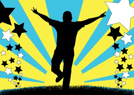 harmony idea: silhouette of male running and waving hands Stock Photo