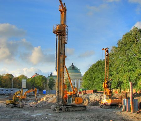 drilling machine at he building site preparation for the building Stock Photo