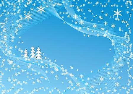 Christmas background with snowflakes and trees, area for text