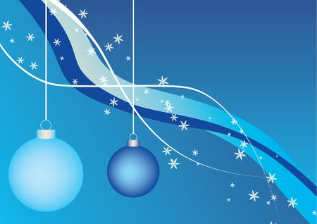 Two blue christmas balls, abstract background photo