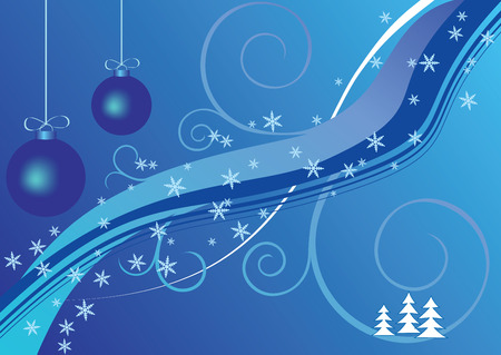 Two blue christmas balls, snow, trees, abstract background