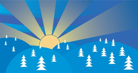christmas background with trees and sun landscape Vector