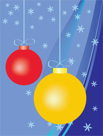colorful christmas background, with red and yellow balls Vector