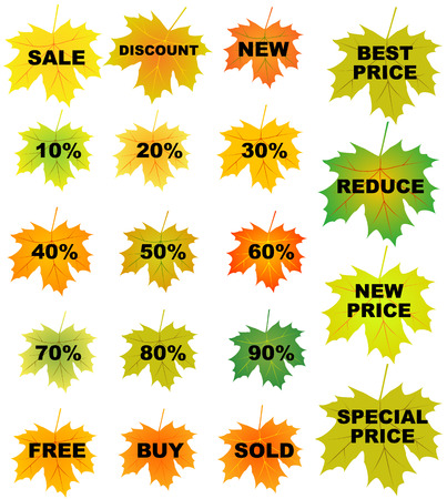 Set of autumn leaves price tags Vector