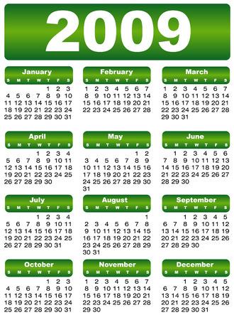 almanac: calendar 2009 green