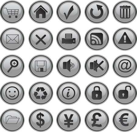 web icons set grey Vector