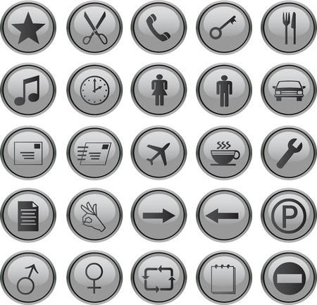 web icons set grey Stock Vector - 3876107