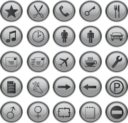 web icons set grey Stock Vector - 3876107