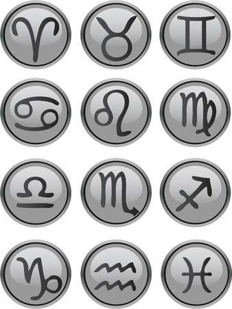 superstitions: Zodiac Icons Set vector grey