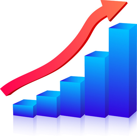 Business growth graph up arrow Illustration