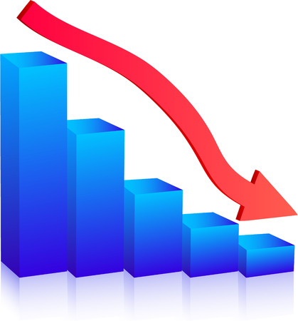 sales graph: Business Failure graph down arrow