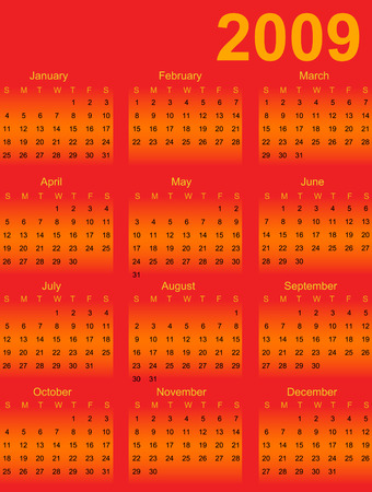 yearly: calendario para el a�o 2009 de color rojo naranja
