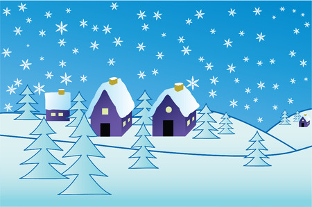 Snowflake background with village and trees Stock Vector - 3948723