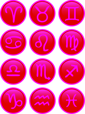 Zodiac Icon Set red and pink Vector