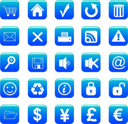 web icons set blue Vector