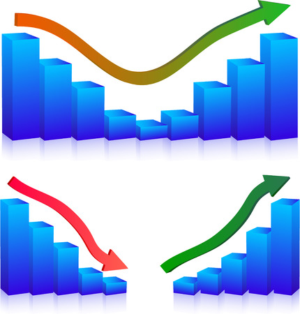Business Failure and growth graphs and arrows Vector