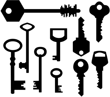 remote lock: Teclas de siluetas Vectores