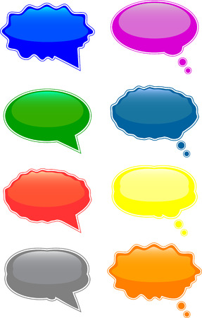 Glossy speech and thought bubbles Vector