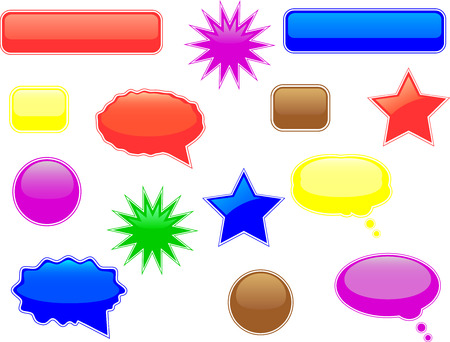 Glossy speech and thought bubbles and other elements Vector