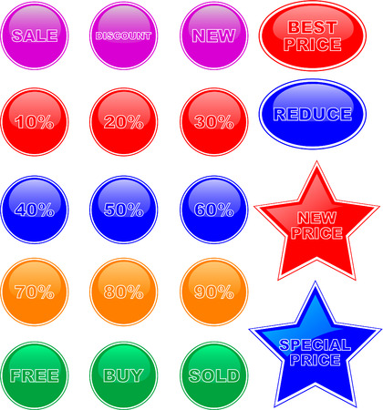 Set of color price tags Vector
