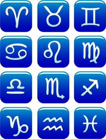 Zodiac Icon Set vector blue Vector