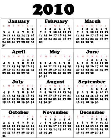 yearly: Calendar for 2010