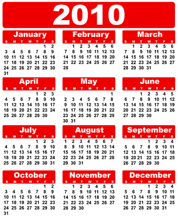 yearly: calendar 2010 red Illustration
