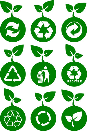 set of green environment and recycle icons with leaves Vector