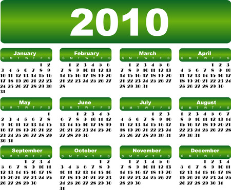 Green calendar for 2010 year Vector