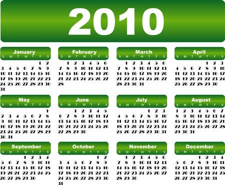 almanac: Green calendar for 2010 year