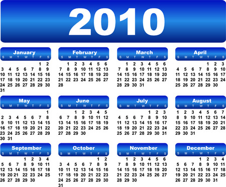 yearly: Azul para el calendario 2010 a�os