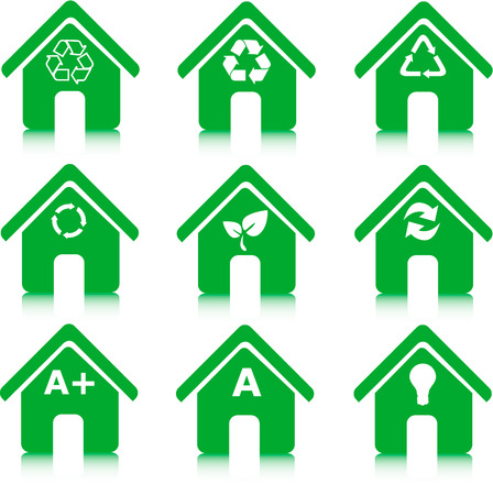set of green houses icons, environment, recycle and energy saving