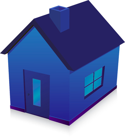 blue house  illustration Vector