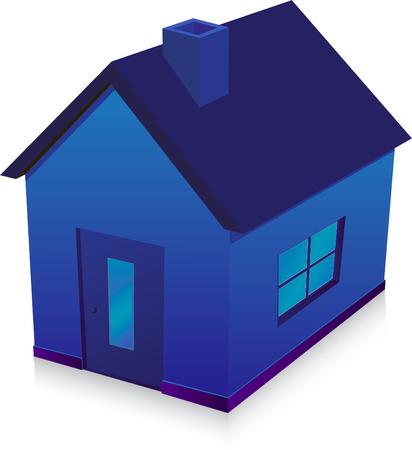 blue house  illustration