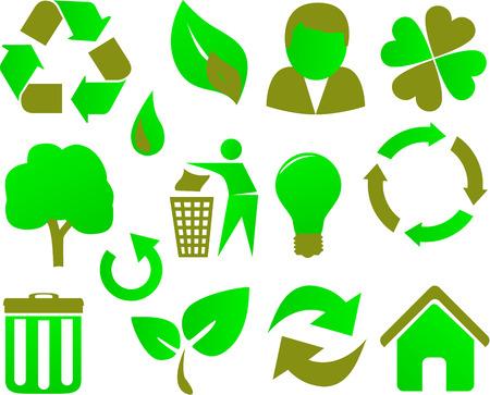 eco icon set green Stock Vector - 6471222