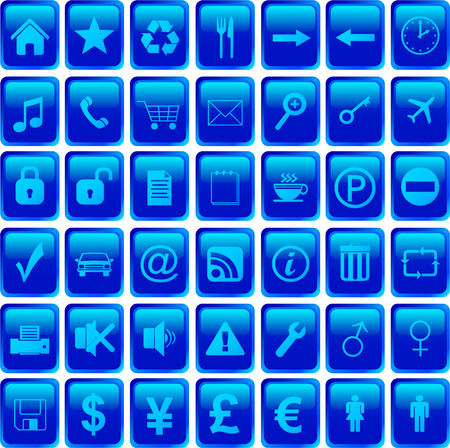 blue icons set Vector
