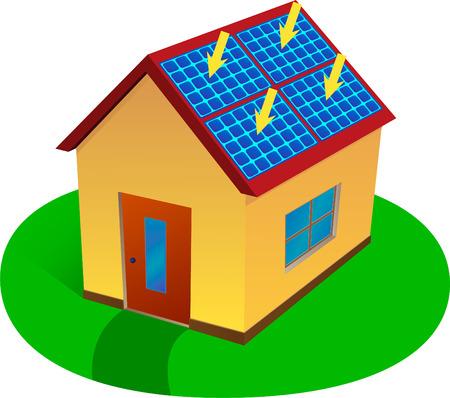 solar equipment: Casa de energ�a solar Vectores