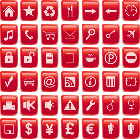 red icons set Stock Vector - 6596010