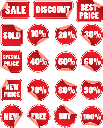 Set of red discount price labels Illustration