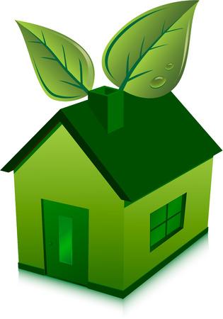 kassen: groene huis en bladeren  Stock Illustratie