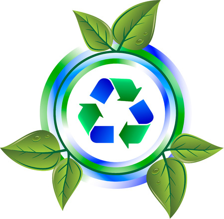 recycle green icon with leaves Illustration