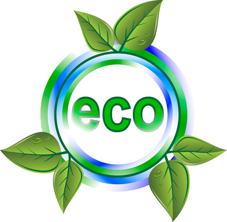 pollution art: eco green icon with leaves