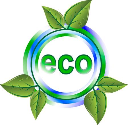 icono contaminacion: icono de eco verde con hojas Vectores