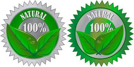 Natural Eco product label with leaves Vector