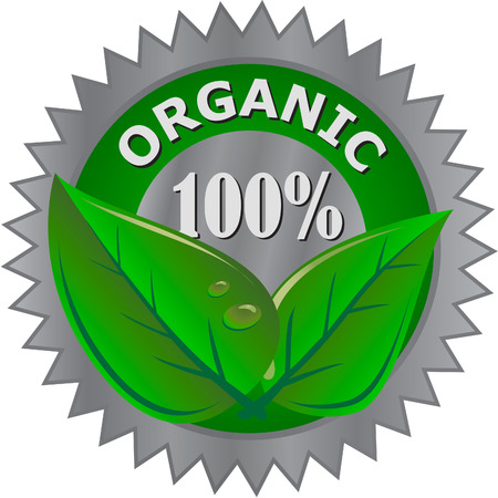 certified: organic product label Illustration